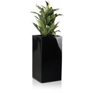 Planter TORRE 80 Fibreglass black glossy