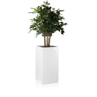 Plant Pot TORRE 80 Fibreglass white glossy