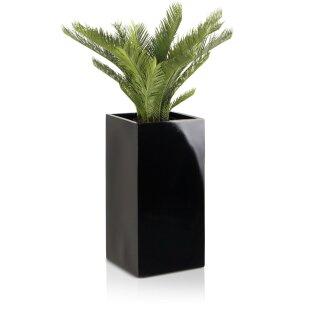 Planter TORRE 60 Fibreglass black glossy