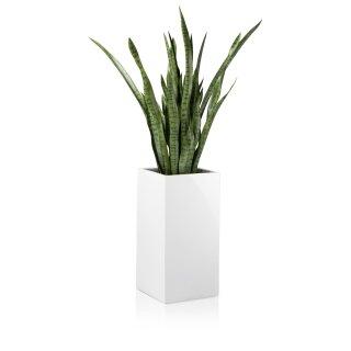 Flower Pot TORRE 60 Fibreglass white glossy