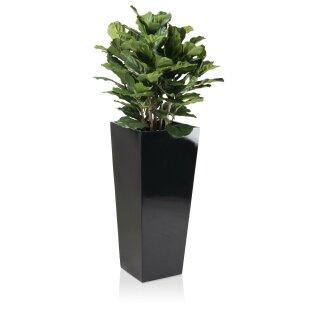 Planter LAVIA 90 Fibreglass black glossy