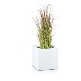 Planter CUBO 30 Fibreglass white glossy