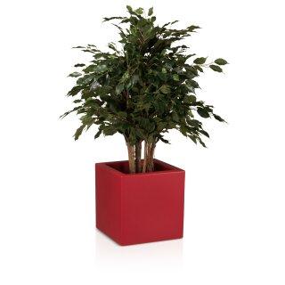 Plastic Planter CUBO 40 red matt