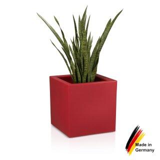 Plastic Planter CUBO 50 red matt