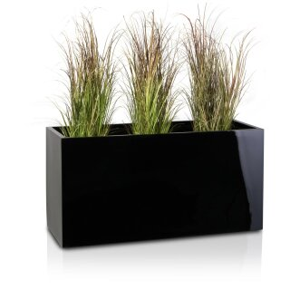 Plant trough VISIO 50 Fibreglass black glossy