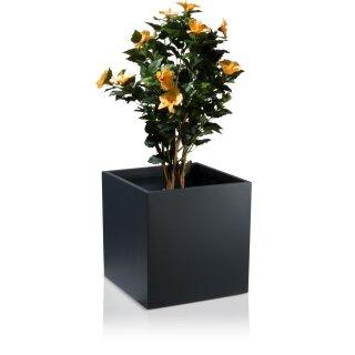 Plant Pot CUBO 50 Fibreglass charcoal-grey matt