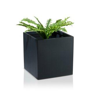 Plant Pot CUBO 40 Fibreglass charcoal-grey matt